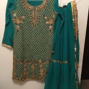 Pakistani Indian Party Outfit  3-PC Set